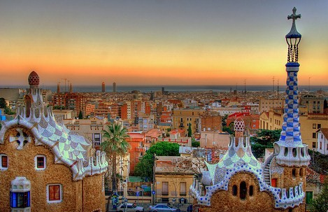 Barcelona at sunset